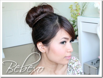 Braided Sock Bun Updo Hairstyle by Bebexo